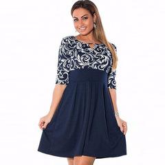 2018 plus size women clothing dress L-6xl Autumn printing Dress casual women patchwork party dresses l dark blue