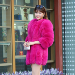 Fur Coat Winter Women Long Faux Fox Fur Coats Furry Luxury Womens Fake Fur Jacket Faux Fur Coat rose red s