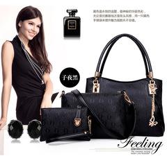 Three-piece Sets Composite Bag Luxury PU Leather Handbag Fashion Women Bag+Messenger Bag+Small Bag black 31cm*24cm*14cm