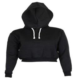 Short sweater autumn new slim slimming waist casual fashion hooded shirt women's clothing black s