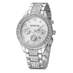 Watches Women Men Faux Chronograph Quartz Plated Classic Round Crystals Watch relogio masculino silver one size