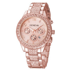 Watches Women Men Faux Chronograph Quartz Plated Classic Round Crystals Watch relogio masculino rose gold one size