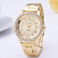 Women's Men's Crystal Rhinestone Stainless Steel Analog Hour Quartz Wrist Watch Unisex Clock gold one size