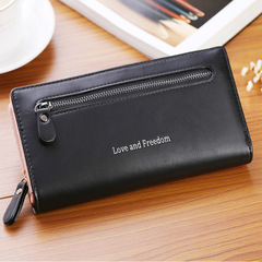 New Multicolor leather wallet female long paragraph leather wallets Purse for women free shipping black one size