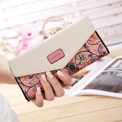Wallet for women wallets purse dollar price printing designer purses card holder coin bag female pink one size