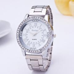 Women's Men's Crystal Rhinestone Stainless Steel Analog Hour Quartz Wrist Watch Unisex Clock silver one size