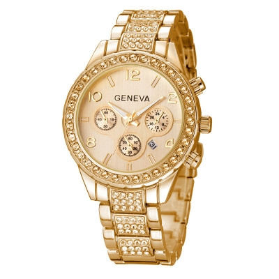 Watches Women Men Faux Chronograph Quartz Plated Classic Round Crystals Watch relogio masculino gold one size