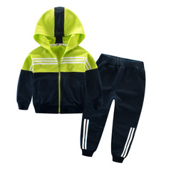 Children Clothing Sports Suit For Girls Hooded Outwears Long Sleeve Boys Clothing Set Tracksuit green 110cm