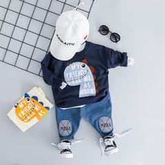 Girls Boys Clothing Sets Infant Clothes Suits Cotton T Shirt Pants 2 Piece Cartoon Kids Costume dark blue 70cm