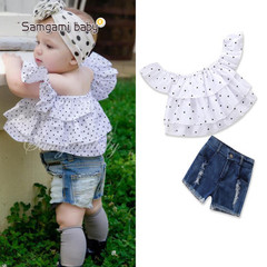 2019 babies prince Toddler Baby Girls Floral Print Bowknot Short Sleeve Princess Denim Dress white 90cm