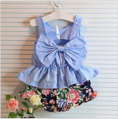 Girls Dress Toddler Girls Backless Lace Bow Princess Dresses Tutu Party Wedding birthday Dress blue 100cm