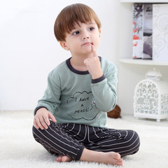 Cotton Children's Pajamas Sets Keep Warm Girls Boys Clothes Cartoon Kids Sleepwear Tops+Pants 1 90cm