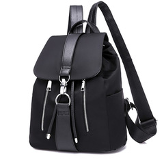 Women Backpack School Bags For Teenager Girls Nylon Zipper Lock Design Black Femme Mochila Backpack black one size