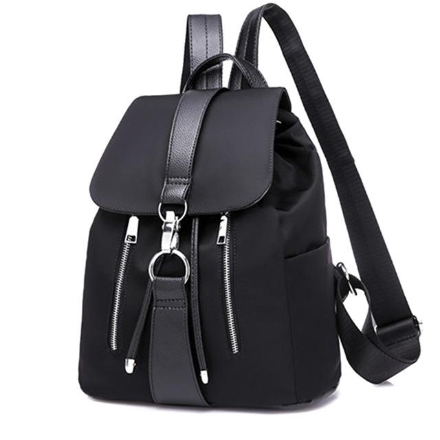 Women Backpack School Bags For Teenager Girls Nylon Zipper Lock Design Black Femme Mochila Backpack black one size