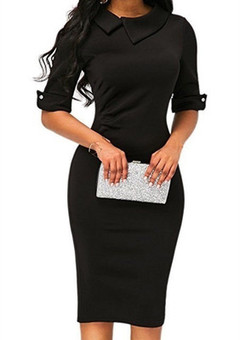 2019 Hot Sale Fashion  women's lapel sleeves Slim bag hip dress pencil pants dress slim dress s black