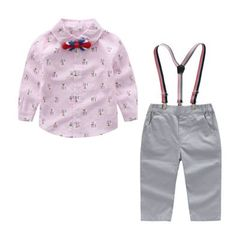 Young baby spring fall suit boy gentleman long sleeve star collared shirt with 2pcs of trousers pink 70cm