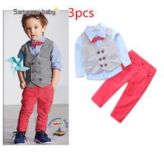 Autumn British Style Fan Formal Toddler Boy Gentleman Coat+Pants+Shirt Outfit Clothes Set Suit 3pcs red 2t