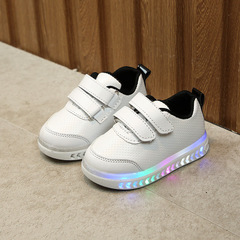 Kids Shoes Toddler Baby Girs Led Light Shoes Boys Soft Luminous Outdoor Sport LED zapatos mini black 21
