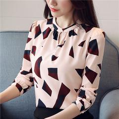 Spring Women blouse Bow tie Professional OL Tops Elegant Long Sleeve Chiffon Shirt Blusa pink s
