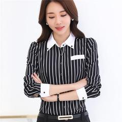 Spring Shirt  Korean Slim Long Sleeve Top Office Professional Blusa Feminina Women Summer Shirts black s