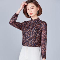 Long Sleeve Female Shirt Autumn Fashion Slim Lace-up Bow Collar Blouse Wild Professional Women Tops blue m