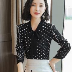 Long Sleeve Female Shirt Autumn Fashion Slim Lace-up Bow Collar Blouse Wild Professional  Women Tops black m