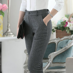 Fall casual pants Ms. wear small trousers OL professional suit pants Slim thin feet pants female grey s