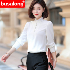 High quality chiffon shirt Women V Neck long sleeve blouse formal professional work wear Loose tops white s