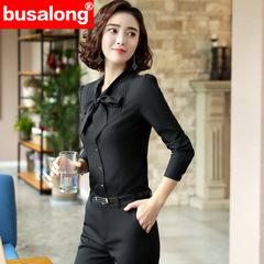 Chiffon shirt Women fashion V Neck long sleeve blouse new formal professional work wear Loose black s