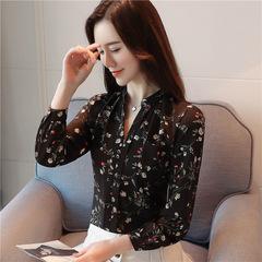 Women Vintage Printed Floral Blouse Top Long Sleeve Chiffon Blouse Shirt Female Turn Office Shirt black s