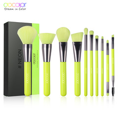 Docolor 10Pcs Professional Makeup Brushes Powder Foundation Eyeshadow Make Up Brushes Set green