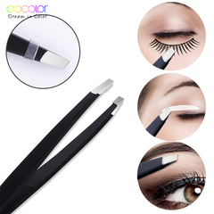1PC Black Eyebrow Tweezer Hair Beauty Slanted Puller Stainless Steel Eye Brow Clips Makeup Tool black