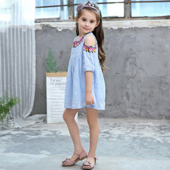 Kids Girls Dresses Panelled Petal Sleevel Ruched Flamingo Cartoon Print Dress Girls Clothes blue 100cm