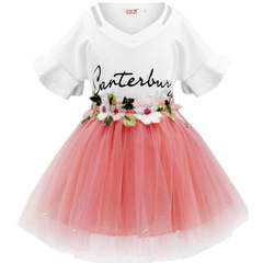 2019 Girls Children's Clothes Kids Lace Dresses Baby Girls Costume Summer Sleeveless Princess Dress pink 100cm