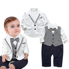 newborn clothing set bebes baby boy clothes baby rompers+ coat with tie white 70cm