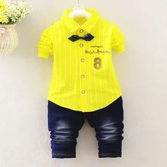 Spring boys kids clothes sets long sleeve shirt+ jeans casual clothing sets children baby clothes yellow M/2yrs
