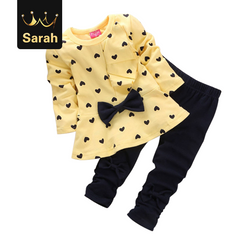 2020 Black Friday Hot autumn girls clothes sets T-shirt full sleeve clothing children active suits yellow 100cm/3yrs