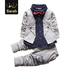 2021 New Year gift Baby Boys Autumn Casual Clothing Set Baby Kids Button Letter Bow Clothing Sets