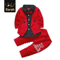 2020 Christmas Gift Baby Boys Autumn Casual Clothing Set Baby Kids Button Letter Bow Clothing Sets