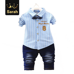 2021 New Year gift Spring boys kids clothes sets long sleeve shirt+ jeans casual boy clothing sets sky blue XL/4yrs