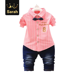 2021 New Year gift Spring boys kids clothes sets long sleeve shirt+ jeans casual boy clothing sets pink L/3yrs