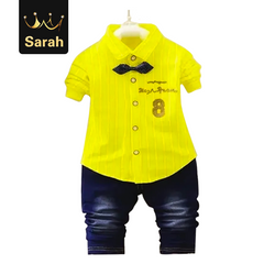 2021 New Year gift Spring boys kids clothes sets long sleeve shirt+ jeans casual boy clothing sets yellow S/1yrs