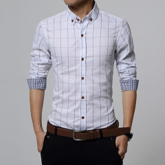 Men Clothes Slim Fit Men Long Sleeve Shirt Men Plaid Cotton Casual Men Shirt Social Plus Size M-5XL white l