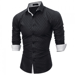 Fashion  shirt autusmn Plaid Men Slim Fit Shirt Long Sleeve Casual Scial Mlale Shirt high quality black m