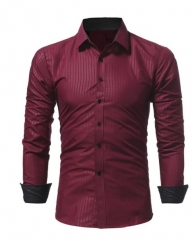 Men Shir Business Men'S Slim Fit Dress Shirt Male Long Sleeves Casual Shirt Size M-XXXL red m
