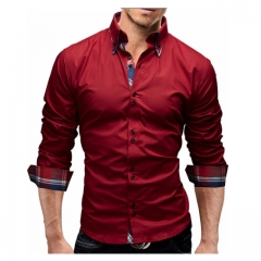 Men Shirt  Business Men'S Slim Fit  Shirt Male Long Sleeves Casual Shirt Camisa Masculina Size M-3XL red m