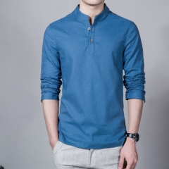 New Cotton Linen Men Shirt Casual Long-Sleeve Male Shirt Slim Fit Chemise Homme Camisa Masculina blue m