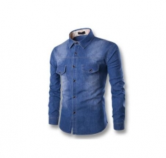 olid Regular Selling Yutongyuxuan Light Denim Shirt Men  Cotton Thick Male Long Sleeve Cool blue xl