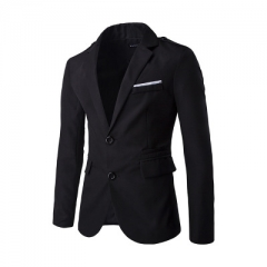 Mens Suit Balzers Solid Color Fashion All-match Male Suite Slim fit  Formal Weeding Meeting balck m