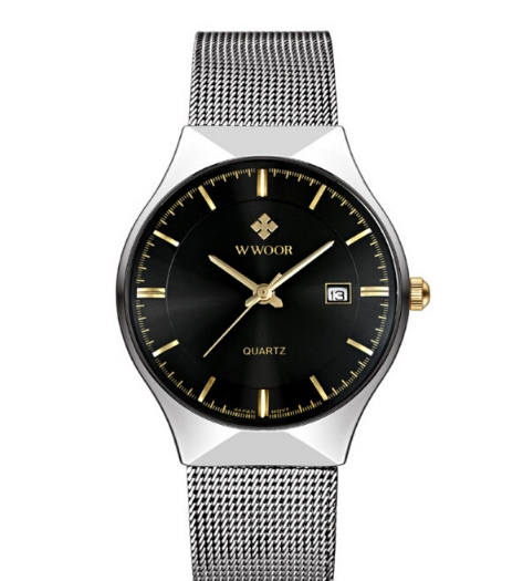 WWOOR Top Luxury Watch Men Brand Men's Watches Ultra  Stainless Steel Mesh Band Quartz Wristwatch black one size